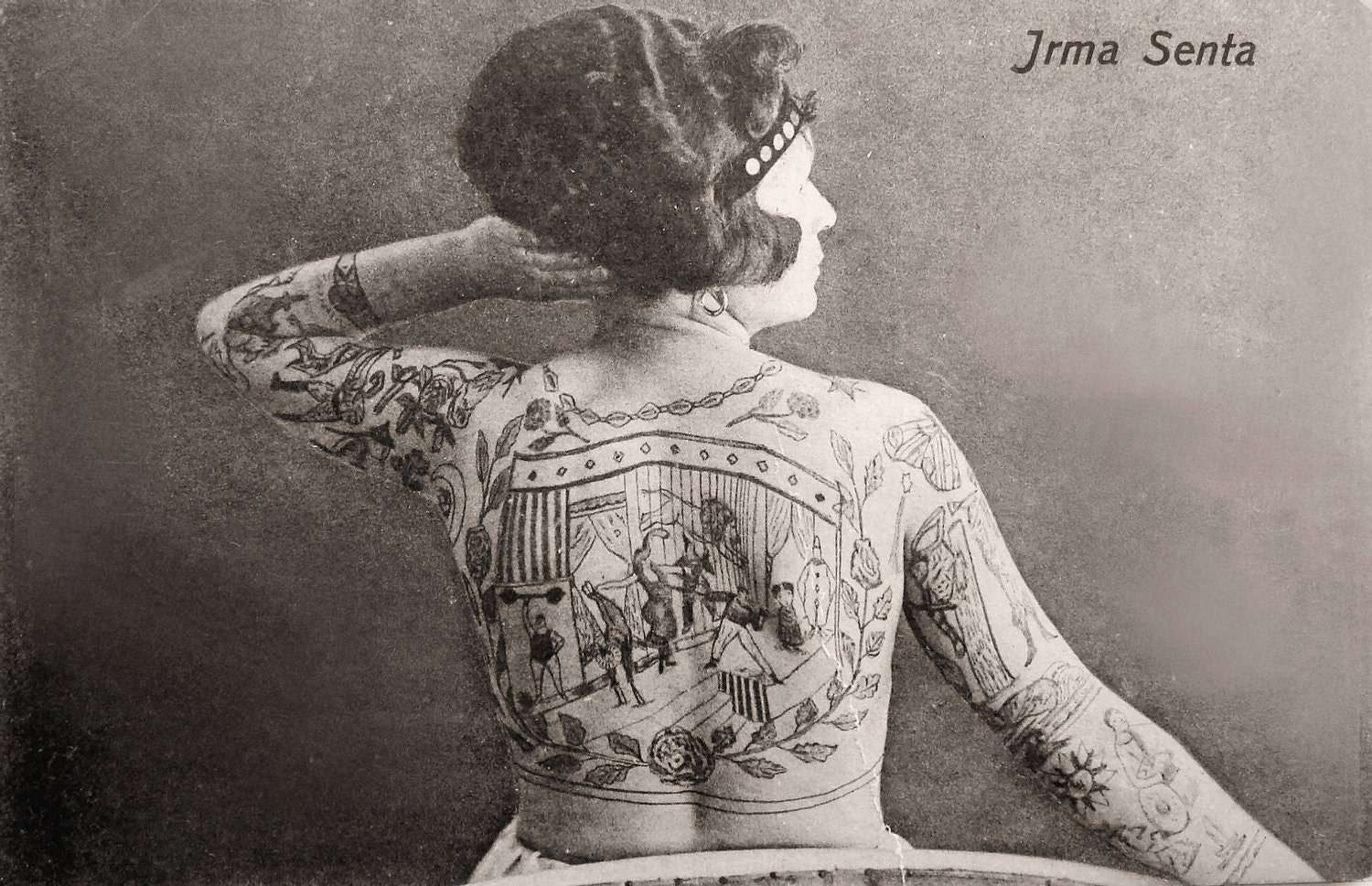8x10 irma senta the tattood lady medium size vintage circus - Mobeltattoo vintage ...