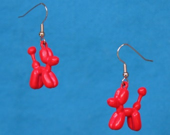 Balloon Dog Dangle Earrings Bright Red Balloon Animal Jewelry Enamel Earrings