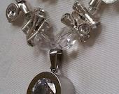 Silver Pendant Necklace, Silver Necklace, Silver Crystal Necklace, Crystal Necklace, Valentines Day Jewelry, Easter Necklace, Easter Jewelry