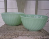 ON SALE--Pair of Jadeite Mixing Bowls