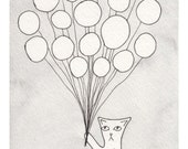 Children's Illustration - Meow the Cat Balloon Ride - Watercolor Art Print 5x7