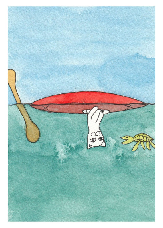 Kayaking Illustration - Meow the Cat vs Sea Turtle- Blue, Green, Red 5x7 Print