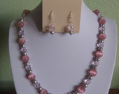 Pink cat's eye Necklace and Earring set