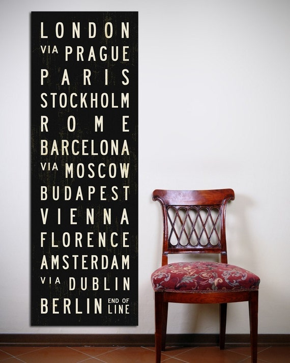 CITIES OF EUROPE Bus Roll. Bus Scroll. Canvas 20.5 x 60