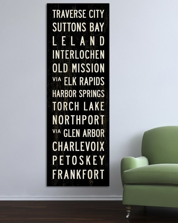RESORT TOWNS OF NW MICHIGAN Bus Scroll. Canvas 20.5 x 60