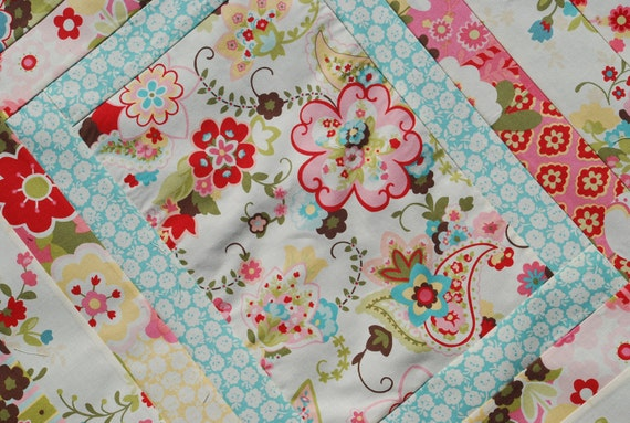 Moda Sophie.COUTURE Baby Quilt. Gorgeous fabrics,Beautiful colors,Amazing craftsmanship,Elaborate top-stitching, Minky on back 30x34 QUILTED