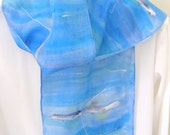 Silk scarf rowing shells on  blue hand painted design