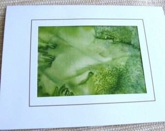 Silk card design green leaf hand painted blank note for your own note