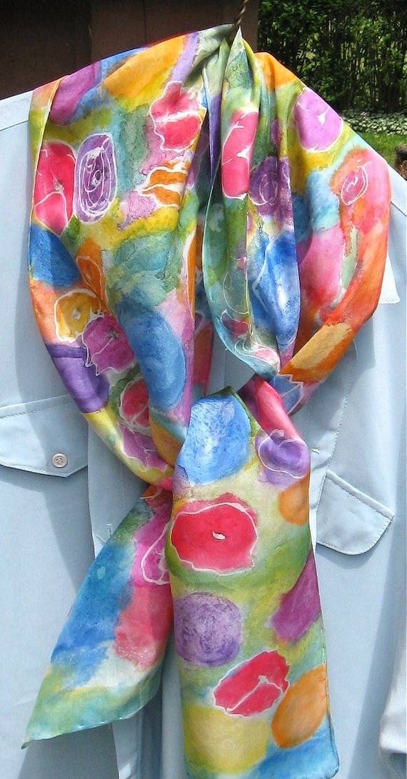 Hand painted Garden Party Scarf Free Shipping