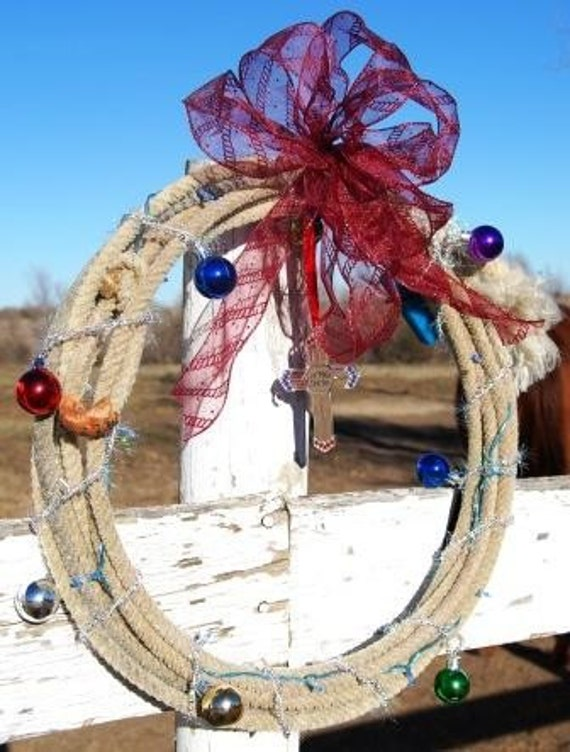 Lariat Rope Wreath God Bless America