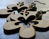 Heather Natural Wood Color Hibuscus Earrings