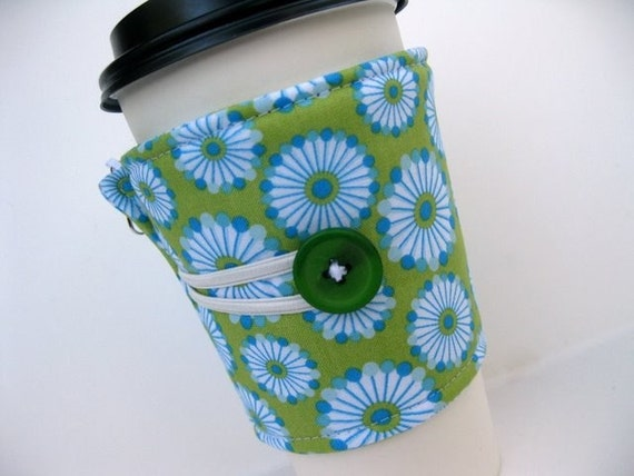Coffee Cup Cozy - Adjustable - Chartreuse and Blue