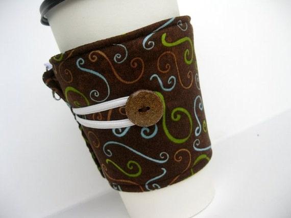 Coffee Cup Cozy - Adjustable - Mocha Swirls