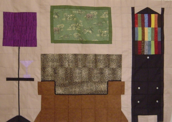 JUNGLE DEN Club Chair Vignette- Quilt/Wall Hanging - Pattern Only