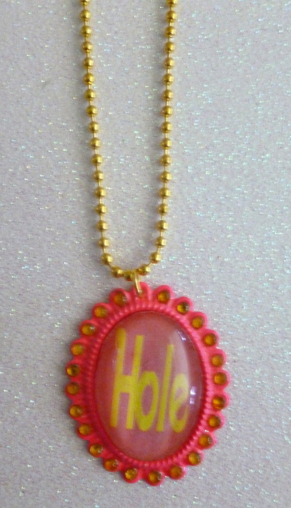 Pink & Gold Hole Logo Cameo Necklace