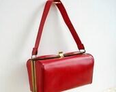 Vintage Art Deco Red Leather Handbag - Box Purse  - 1920 - Unusual Design