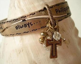 Vintage Copper Religious Charm Bangle Bracelet - 1970