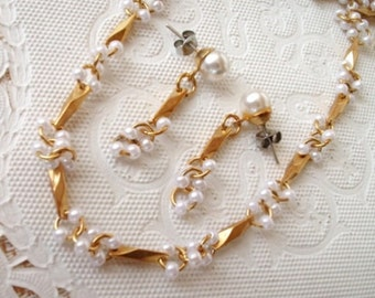 """Vintage Brushed Gold & Pearl Necklace and Earrings - Dangle - Pierced - 24"""" Long - Set - Flawless - Set - 1970"""