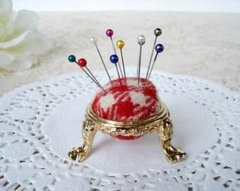 Vintage Gold Tripod Pin Cushion - Red & White