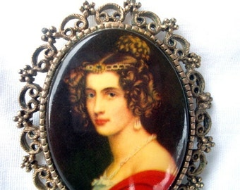 Vintage Victorian Style Portrait Cameo Brooch - Lady In Red - 1960