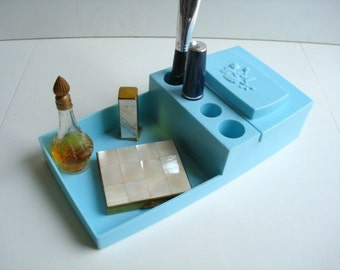 Vintage Powder Blue Molded Plastic Cosmetic Tray - Vanity Bathroom Bedroom - Mid Century Modern
