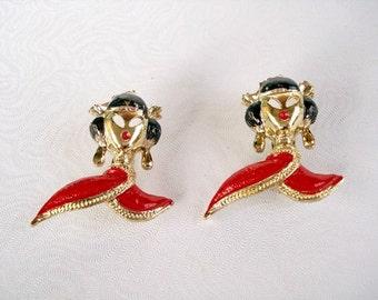 Vintage Black & Red Enamel Geisha Girl Brooches - Scatter Pins - 1950 - Set of 2