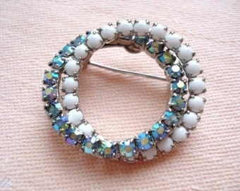 Vintage Blue AB Rhinestones and White Milk Glass  Brooch - Interlocked Circles - 1950 - Lovely