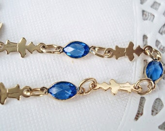 Vintage Blue Sapphire Crystal Chain Bracelet - Very Nice