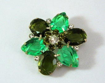 "Vintage Green Lucite Crystal & Rhinsestone Brooch - 2"" High - Large - 1950 - St. Patrick's Day"