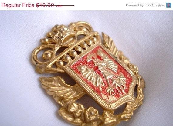 Spring Sale Vintage Heraldic Brooch Gold Crown Red Enamel Coat of Arms Eagle - 1940 - Interesting