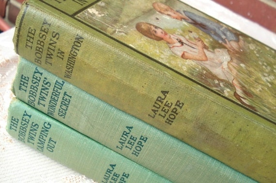 The Bobbsey Twins in Washington 1919, Camping Out 1923 & Wonderful Secret 1931 by Laura Lee Hope - Original Hardcover Print - Lithographs