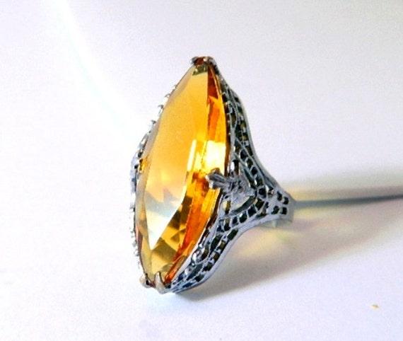 Vintage UNCAS Art Deco Golden Citrine Ring - Elongated - Size 7 1/2 - SIGNED - 1920