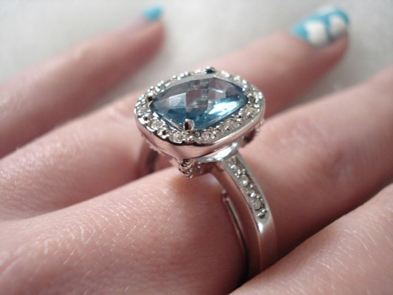 Vintage Antiqued Blue Topaz Aqua & Clear Rhinestone Ring - Cushion Cut - Adjustable - Size 7 to 10 1/2 - 1970 - Flawless