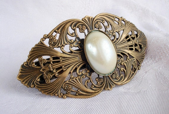 "Vintage Antique French Lacy Brass & Pearl Hair Barrette - Large 3 1/2"" Long - SIGNED - 1940 - Spectacular"