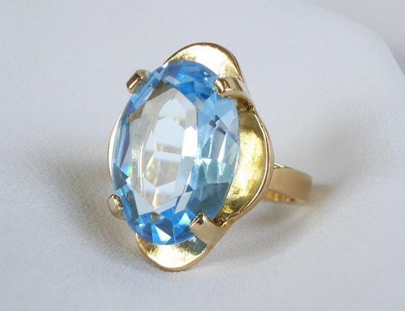 Vintage UNCAS 18k Gold HGE & Faceted Blue Topaz Ring - Karatclad - SIGNED - 1960 - Spectacular