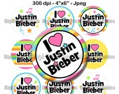 "Justin Bieber Bottle Cap 1"" Circles Digital Collage Image Sheet  4""x6"" Jpeg // Colorful Stars and Music Notes - NO. 176"