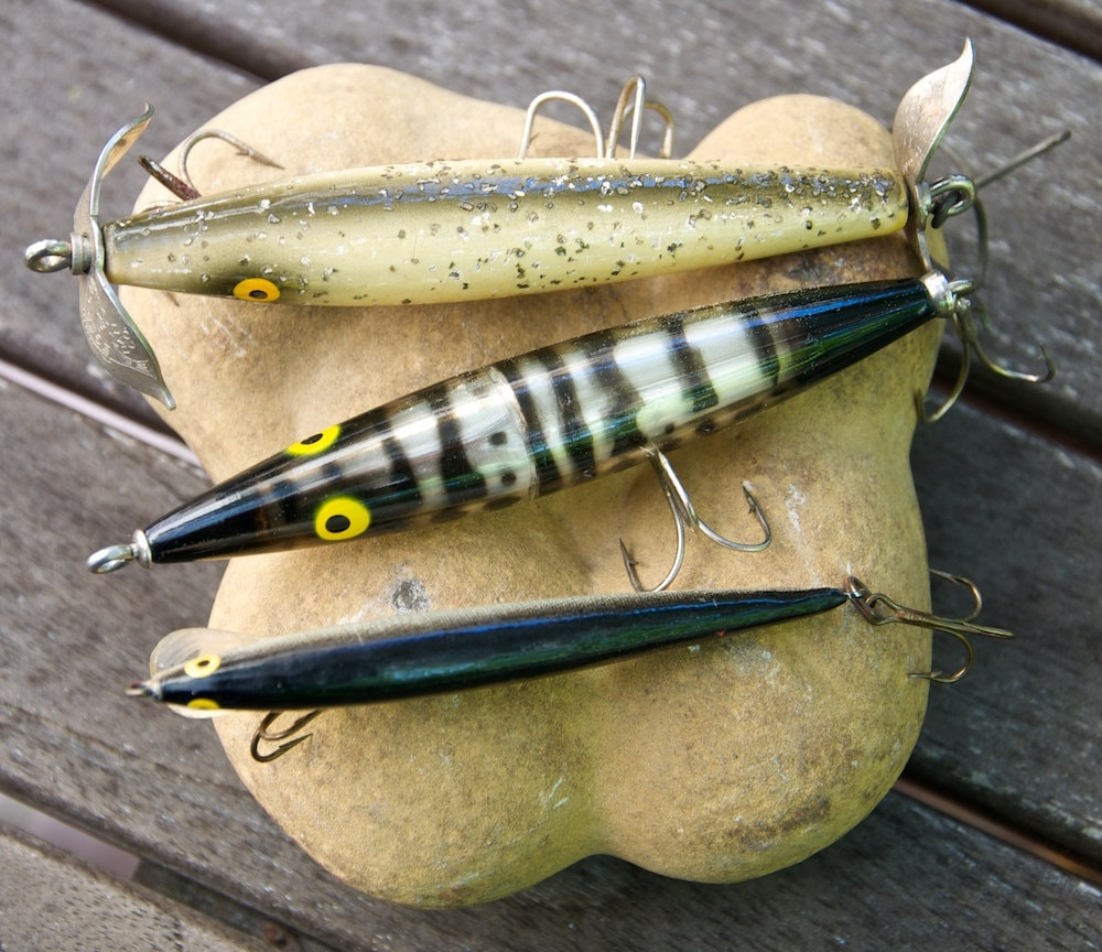 three funny fishing lures by fiberreflections on etsy