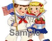 Patriotic Set of Kids, vintage Greeting Card, digital, download