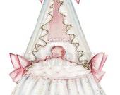 Vintage Baby Bassinette with Crown, digital, download, printable, greeting card image