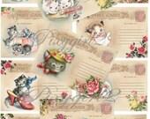 Cat kitten Vintage Postcards, Digital graphics, DIY, Printable, download, collage sheet