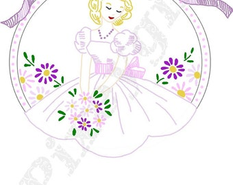 Vintage Girl Embroidery Digi Stamp  Thinking of You