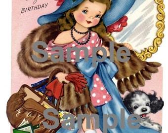 Vintage Girl dress up brunette  Download, printable, digital, card making