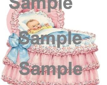 Pretty Pink Bassinet   Digital Greeting Card Print
