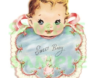 vINTAGE  Baby with Bib, digital, download, printable, 300 dpi, vintage greeting card, vintage baby card making