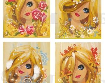 Vintage 70's big Eyed  Girl's images  Digital, Printable, download, DIY,