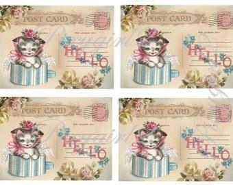 Vintage Kitty Postcards, digital download, for scrapbooking, albums, cardmaking