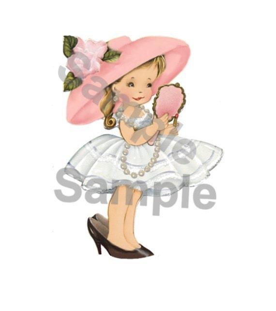 Vintage Little Girl Playing Dress-up Digital Print download, cards, greeting card, scrapbooking