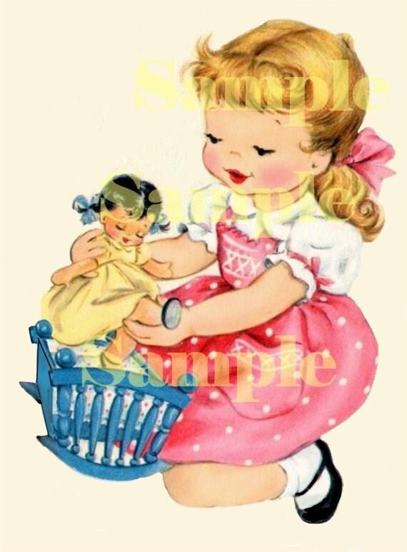 digital vintage greeting card image little girl by pixygirl, Greeting card
