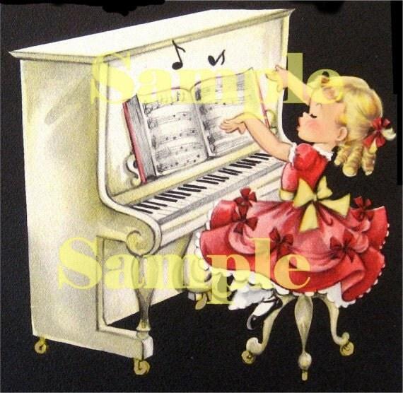 Digital Vintage Girl greeting card, playing piano, piano recital, download, printable