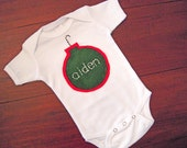 Christmas baby onesie personalized green red patch ornaments 0 to 3 months, 3 to 6 month, 6 to 12 months